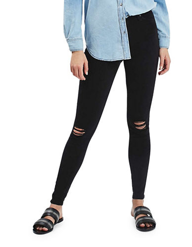 Topshop MOTO Ripped Jamie Jeans 32-Inch Leg-BLACK-25X32