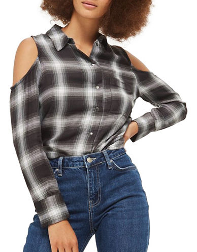 Topshop Check Cold Shoulder Shirt-GREY-UK 10/US 6