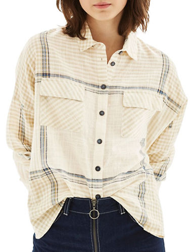 Topshop Gingham Stripe Shirt-MULTI-UK 10/US 6