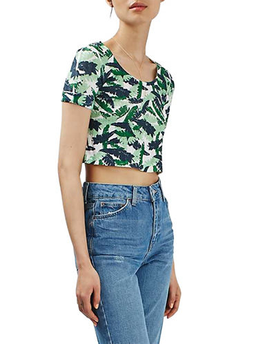 Topshop Tropical Print Knitted Top-MULTI-UK 12/US 8