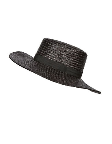 Topshop New Straw Boater Hat-BLACK-One Size
