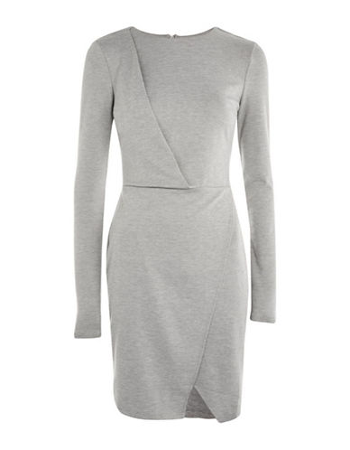 Topshop TALL Drape Detail Dress-GREY-UK 12/US 8