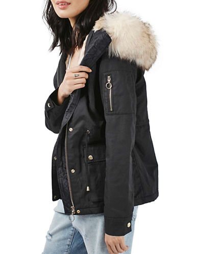 Topshop PETITE Trevor Short Padded Parka-NAVY BLUE-UK 10/US 6