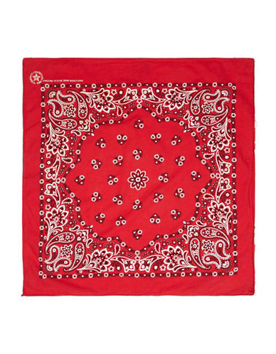 Topshop Paisley Cotton Bandana-RED-One Size