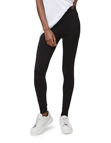 Topshop High Waisted Ankle Leggings-BLACK-UK 12/US 8