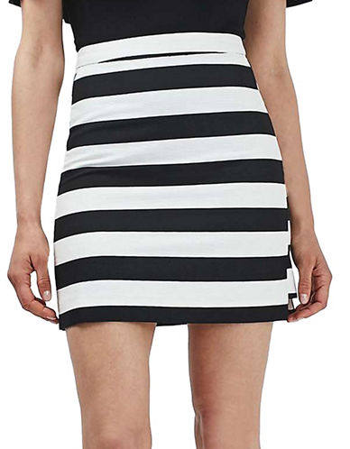 Topshop TALL Bold Stripe Mini Skirt-MONOCHROME-UK 12/US 8