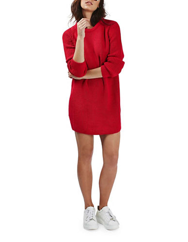 Topshop Oversized Sweater Dress-RED-UK 12/US 8 88680476_RED_UK 12/US 8