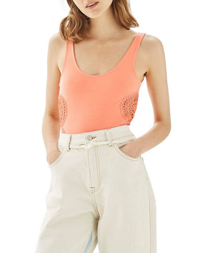 Topshop Crochet-Detailed Bodysuit-CORAL-UK 8/US 4