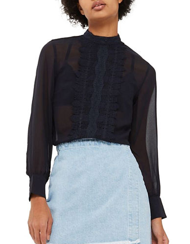 Topshop Sheer Lace Panel Top-NAVY-UK 8/US 4