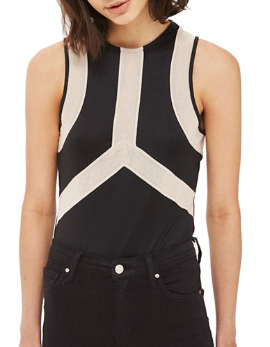 Topshop Sporty-Insert Bodysuit-BLACK-UK 14/US 10