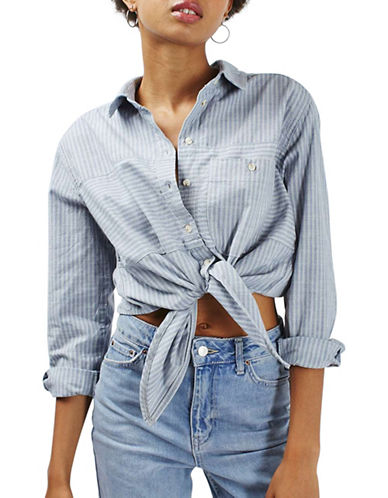 Topshop MOTO Denim Cropped Tie Shirt-BLUE-UK 12/US 8 88719815_BLUE_UK 12/US 8