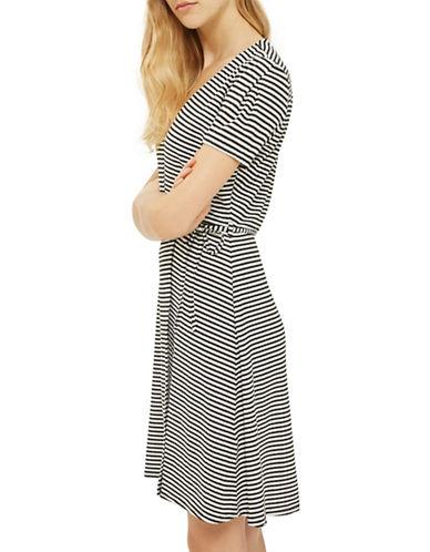 Topshop MATERNITY Striped Wrap Skater Dress-MONOCHROME-UK 8/US 4