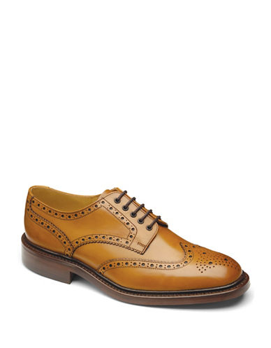 Loake Chester Double Sole Wingtip Calfskin Oxfords-TAN-UK 7.5/US 8.5
