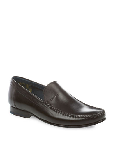 Ted Baker London Topstitched Leather Loafers-BLACK-UK 7/US 8
