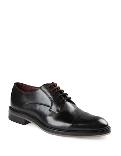 Ted Baker London Aokii Cap Toe Leather Derbys-BLACK-UK 8/US 9