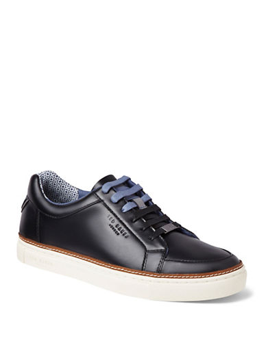 Ted Baker London Mens Rouu Leather and Suede Low Top Sneakers-BLACK-UK 11/US 12