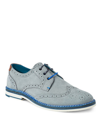 Ted Baker London Reith Suede Wingtip Oxfords-GREY-UK 8/US 9