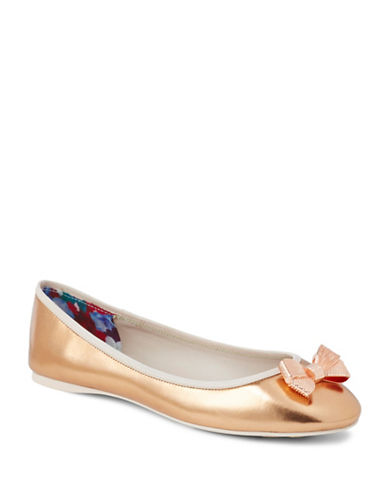 Ted Baker London Metallic Ballerina Flats-ROSE GOLD-UK 6.5/US 8.5