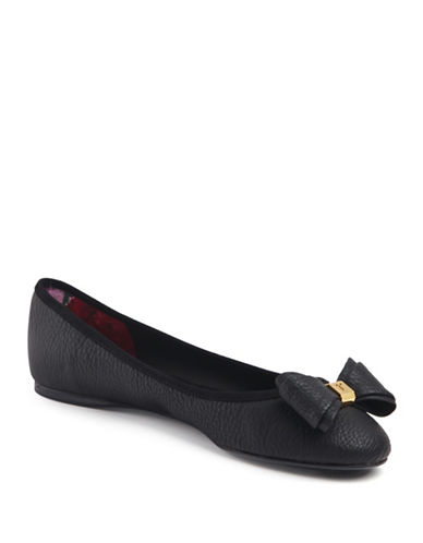 Ted Baker London Immet Pebbled Ballet Flats-BLACK-8