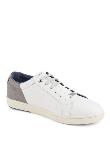 Ted Baker London Xiloto Geometric-Print Leather Sneakers-LIGHT GREY-8