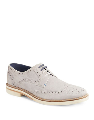 Ted Baker London Archerr Suede Wingtip Oxfords-WHITE-8