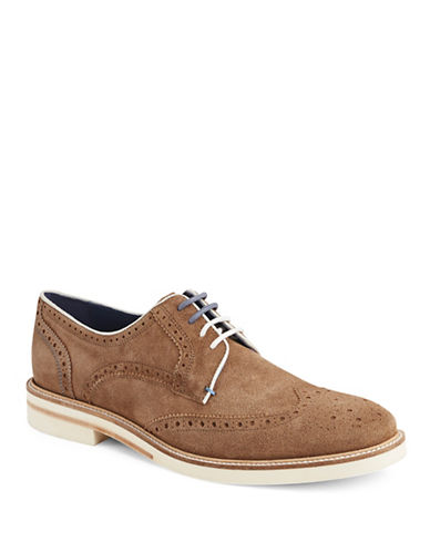 Ted Baker London Archerr Suede Wingtip Oxfords-LIGHT TAN-9.5