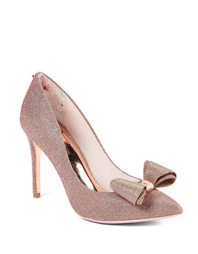Ted Baker London Azeline Lurex Point Toe Pumps-ROSE GOLD-UK 5/US 7