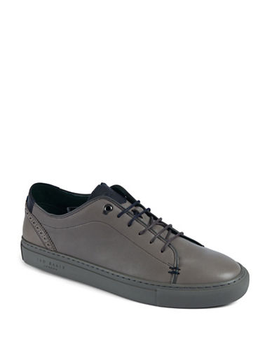 Ted Baker London Prinnc Leather Brogue Sneakers-GREY-UK 11/US 12