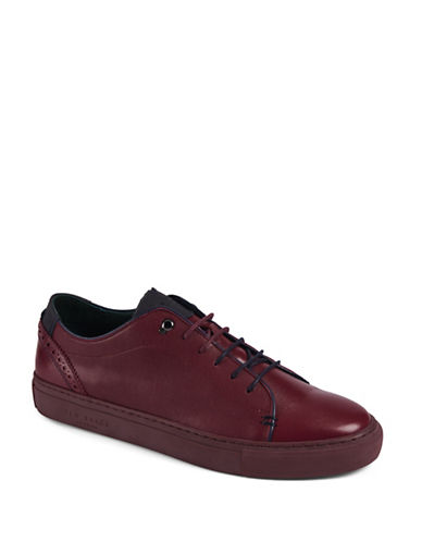 Ted Baker London Prinnc Leather Brogue Sneakers-RED-UK 9/US 10