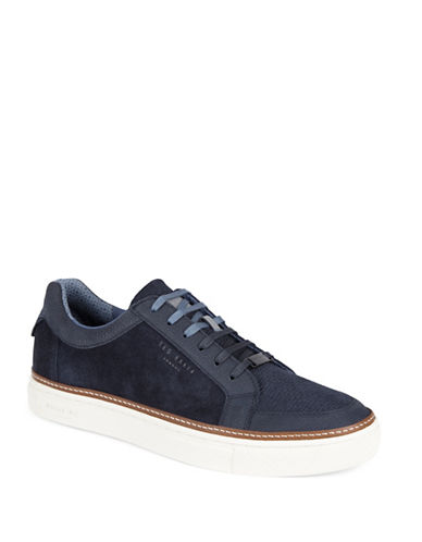 Ted Baker London Rouu Leather and Suede Sneakers-DARK BLUE-UK 9/US 10