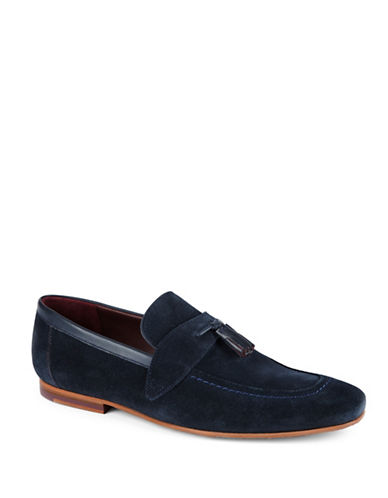 Ted Baker London Grafit Tassel-Detail Suede Slip-On Loafers-DARK BLUE-UK 12/US 13