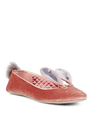 Ted Baker London Bellamo Bunny Satin and Velvet Ballet Flats-PINK-10