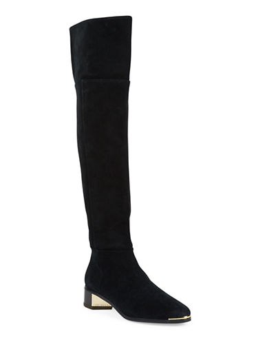 Ted Baker London Nayomie Almond Toe Suede Over-The-Knee Boots-BLACK-UK 5/US 7