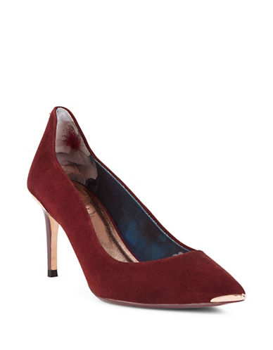 Ted Baker London Vyixin Stiletto Suede Pumps-BURGUNDY-UK 5/US 7