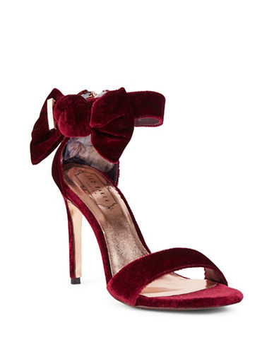 Ted Baker London Torabel High Heel Velvet Sandals-RED-5