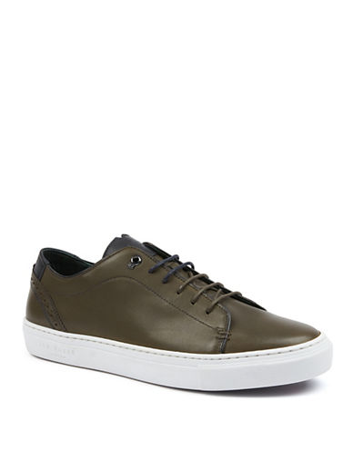 Ted Baker London Orlee Leather Lace-Up Sneakers-DARK GREEN-UK 8.5/US 9.5