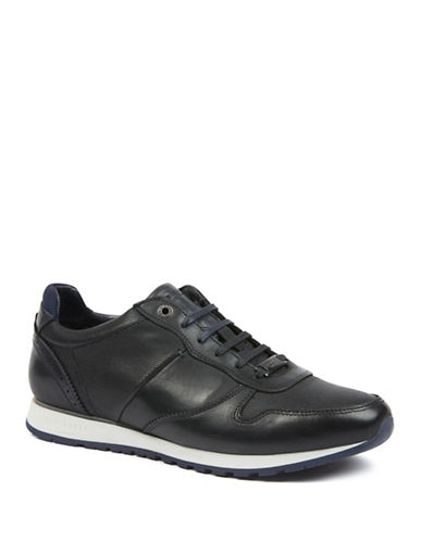 Ted Baker London Shindl Retro Leather Sneakers-BLACK-UK 12/US 13