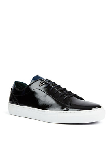 Ted Baker London Duuke Patent Leather Lace-Up Sneakers-BLACK-UK 8/US 9
