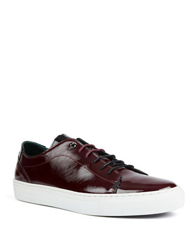 Ted Baker London Duuke Patent Leather Lace-Up Sneakers-DARK RED-UK 8/US 9