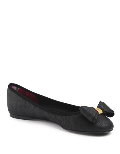 Ted Baker London Immet Leather Ballet Flats-BLACK-4.5