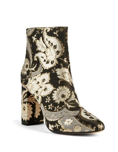 Ted Baker London Floral Ankle Boots-BLACK/GOLD-UK 6/US 8
