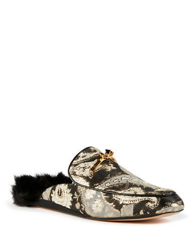 Ted Baker London Kerriy Faux Fur Jacquard Mules-BLACK GOLD-UK 6/US 8