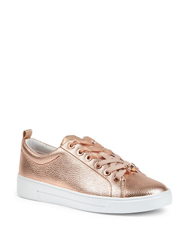 Ted Baker London Kellei Metallic Leather Sneakers-ROSEGOLD-UK 5/US 7