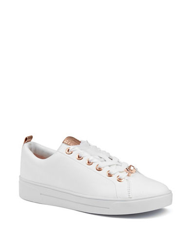 Ted Baker London Kellei Leather Low-Top Sneakers-WHITE-4.5
