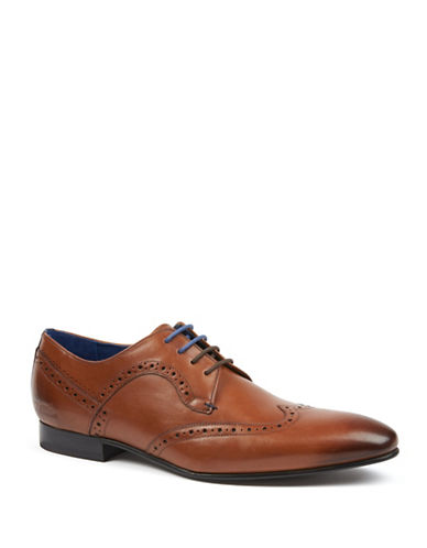 Ted Baker London Olliver Leather Wingtip Brogue Shoes-TAN-UK 8.5/US 9.5