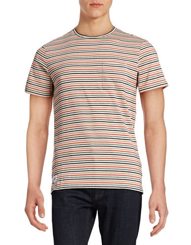 Native Youth Tack Stitch Striped T-Shirt-RED-X-Large 88381156_RED_X-Large