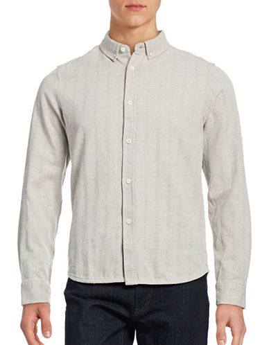 Native Youth Cotton Tonal Stripe Shirt-BEIGE-Large