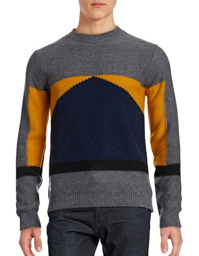 Native Youth Colourblock Stitch Sweater-GREY-Large