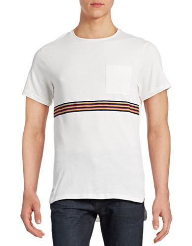 Native Youth Braid-Stripe Step Hem T-Shirt-ECRU-Large