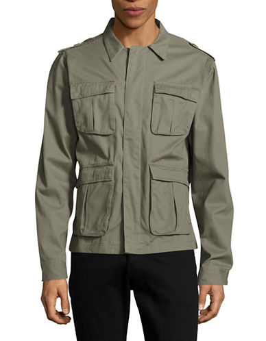 Native Youth Sharrow Twill Button-Front Jacket-GREEN-Large